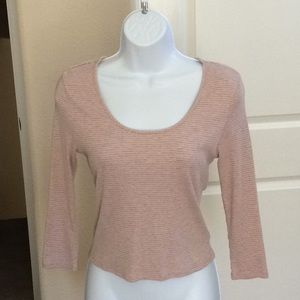 American Rag Pink and Gray Horizontal Striped Top